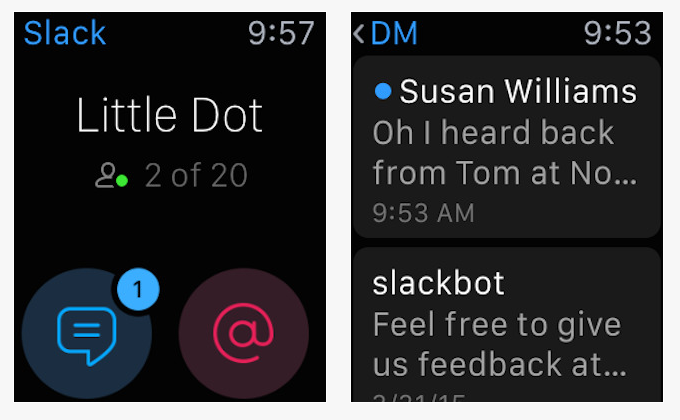 Slack Apple Watch apps for events professionals