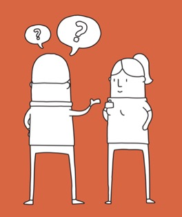 asking questions illustration by event app provider Noodle Live