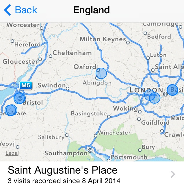 Apple iPhone - Frequent Locations Map