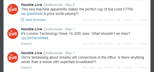 Noodle Live Tweets from twitter hellonoodle